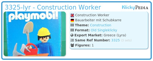 Playmobil 3325-lyr - Construction Worker