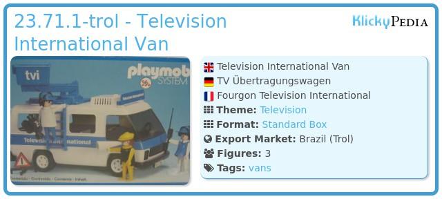 Playmobil 23.71.1-trol - Television International Van