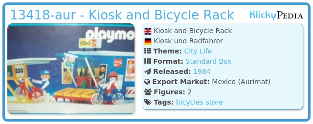 Playmobil 13418-aur - Kiosk and Bicycle Rack