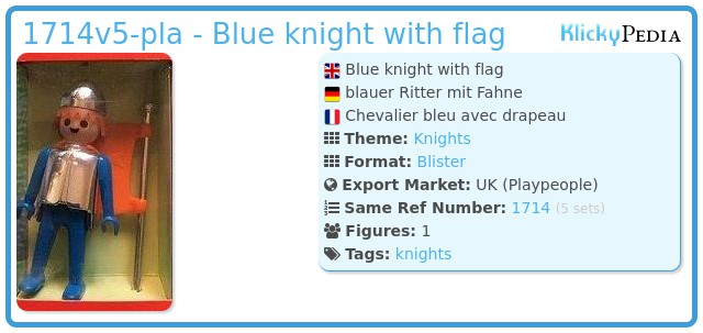 Playmobil 1714v5-pla - Blue knight with flag