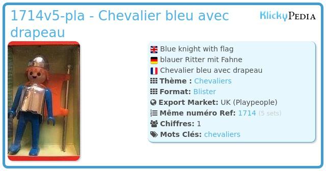 Playmobil 1714v5-pla - Chevalier bleu avec drapeau