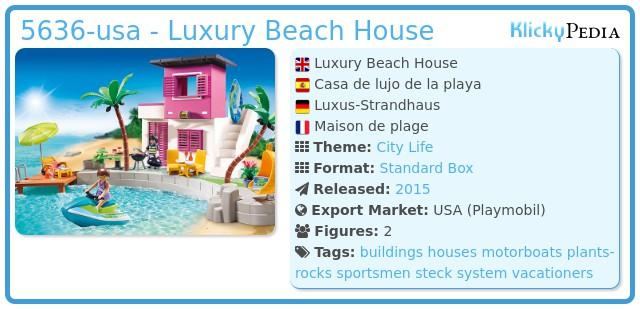 Playmobil set 5636 usa luxury beach house klickypedia for Playmobil casa de lujo