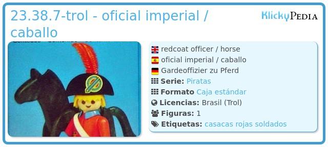 Playmobil 23.38.7-trol - oficial imperial / caballo