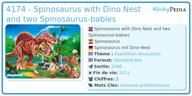 Playmobil 4174 - Spinosaurus with Dino Nest and two Spinosaurus-babies