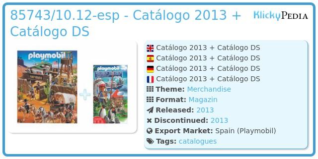 Playmobil 85743/10.12-esp - Catálogo 2013 + Catálogo DS