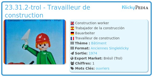 Playmobil 23.31.2-trol - Ouvrier maçon