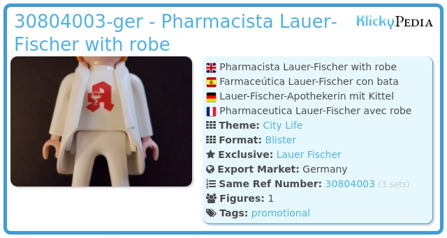 Playmobil 30804003-ger - Pharmacista Lauer Fischer with robe