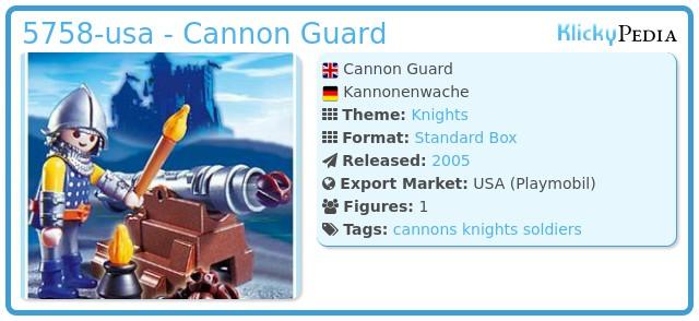 Playmobil 5758-usa - Cannon Guard