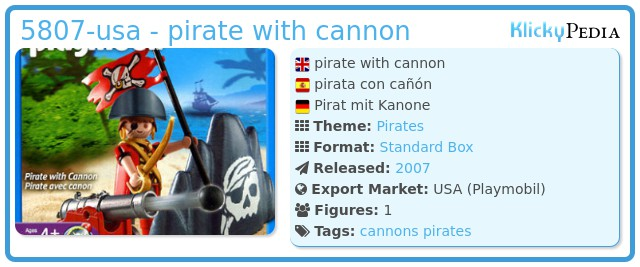 Playmobil 5807-usa - pirate with cannon