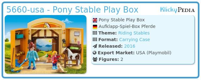 Playmobil 5660-usa - Pony Stable Play Box