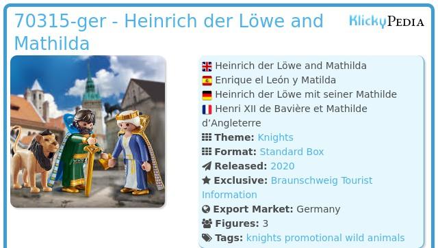 Playmobil 70315-ger - Heinrich der Löwe and Mathilda