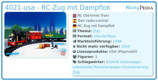 Playmobil 4021-usa - RC-Zug mit Dampflok