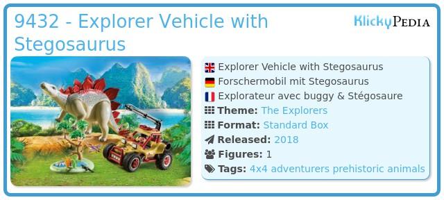 Playmobil 9432 - Explorer Vehicle with Stegosaurus
