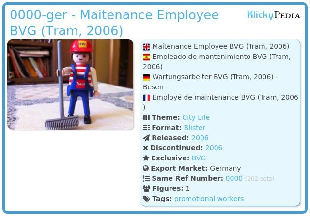 Playmobil 0000-ger - Maitenance Employee BVG (Tram, 2006)