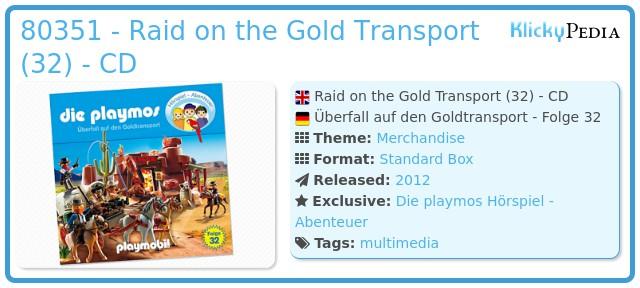 Playmobil 80351 - Raid on the Gold Transport (32) - CD