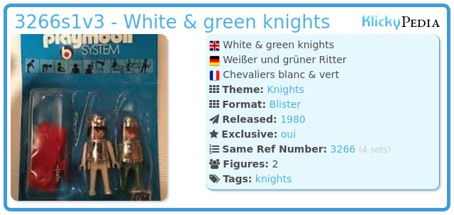 Playmobil 3266s1v3 - White & green knights