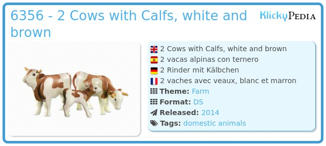 Playmobil 6356 - 2 Cows with Calfs, white and brown