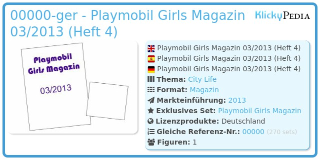 Playmobil 00000-ger - Playmobil Girls Magazin 03/2013 (Heft 4)