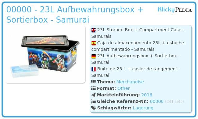 Playmobil 00000 - 23L Aufbewahrungsbox + Sortierbox - Samurai