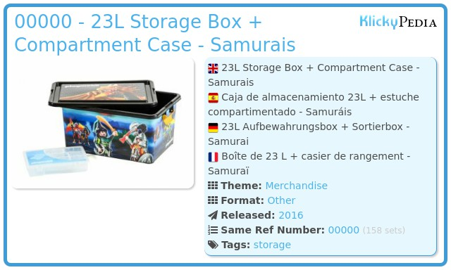 Playmobil 00000 - 23L Storage Box + Compartment Case - Samurais