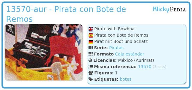 Playmobil 13570-aur - Pirata con Bote de Remos