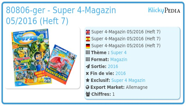 Playmobil 80806-ger - Super 4-Magazin 05/2016 (Heft 7)