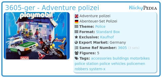 Playmobil 3605-ger - Adventure polizei