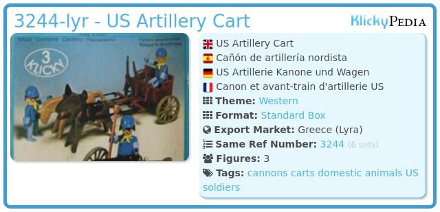 Playmobil 3244-lyr - US Artillery Cart