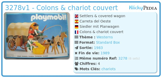 Playmobil 3278v1 - Colons & chariot couvert