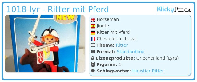Playmobil 1018-lyr - Ritter mit Pferd
