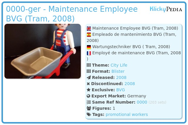 Playmobil 0000-ger - Maintenance Employee BVG (Tram, 2008)