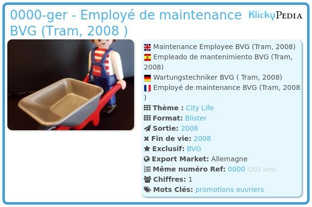 Playmobil 0000-ger - Employé de maintenance BVG (Tram, 2008 )