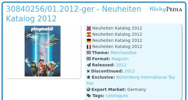 Playmobil 30840256/01.2012-ger - Neuheiten Katalog 2012