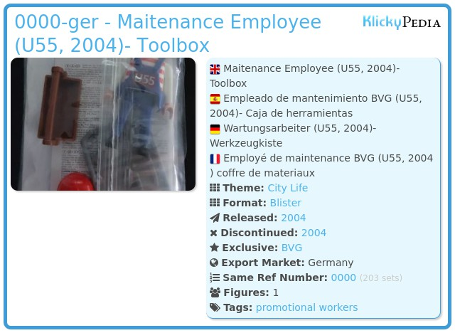 Playmobil 0000-ger - Maitenance Employee (U55, 2004)- Toolbox