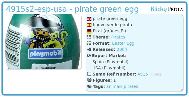 Playmobil 4915s2-esp-usa - pirate green egg