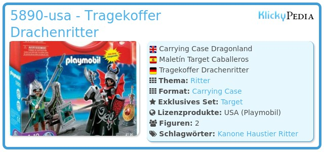 Playmobil 5890-usa - Sortierbox Drachenritter