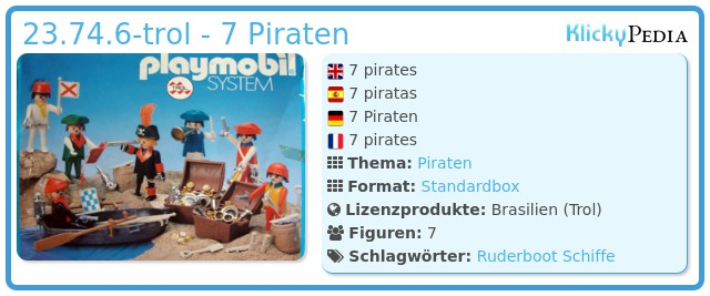 Playmobil 23.74.6-trol - 7 Piraten