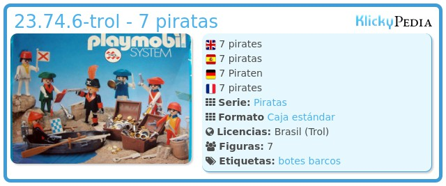 Playmobil 23.74.6-trol - 7 piratas