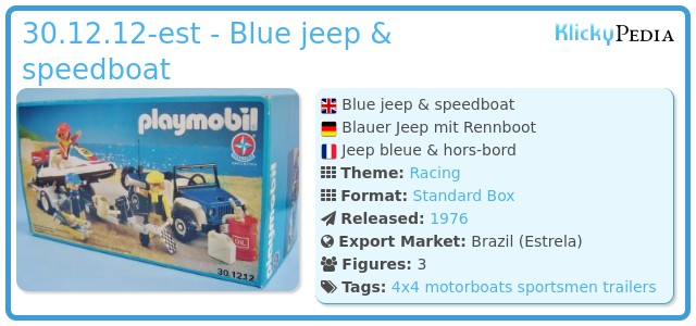 Playmobil 30.12.12-est - Blue jeep & speedboat