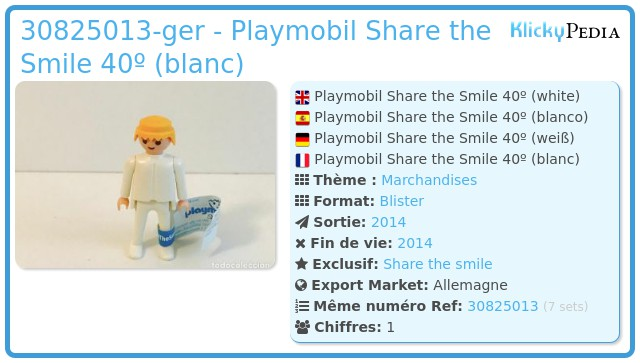 Playmobil 30825013-ger - Playmobil Share the Smile 40º (blanc)