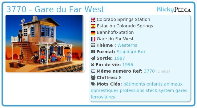 Playmobil 3770 - Gare Far West