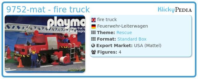 Playmobil 9752-mat - fire truck