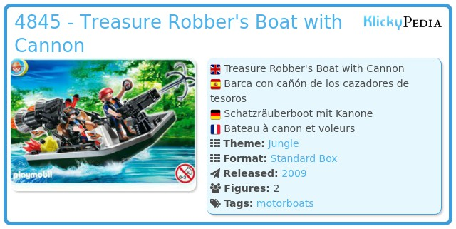 Playmobil 4845 - Treasure Robber's Boat with Cannon