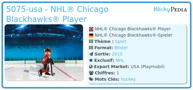 Playmobil 5075-usa - NHL® Chicago Blackhawks® Player