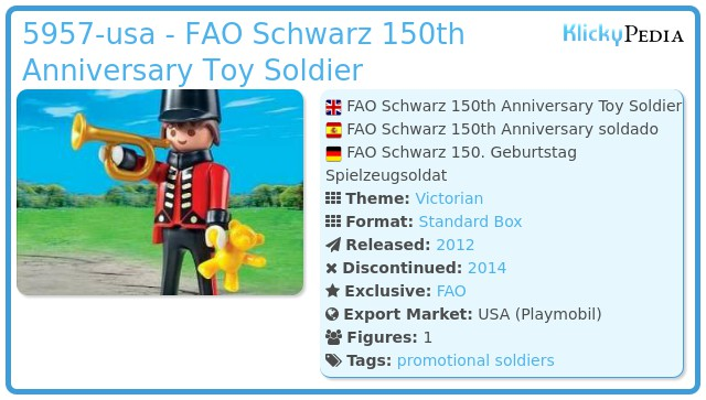 Playmobil 5957-usa - FAO Schwarz 150th Anniversary Toy Soldier