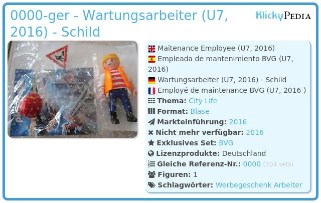 Playmobil 0000-ger - Wartungsarbeiter (U7, 2016) - Schild