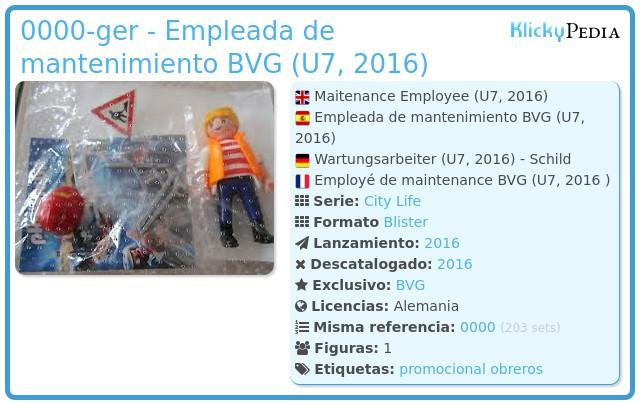 Playmobil 0000-ger - Empleada de mantenimiento BVG (U7, 2016)