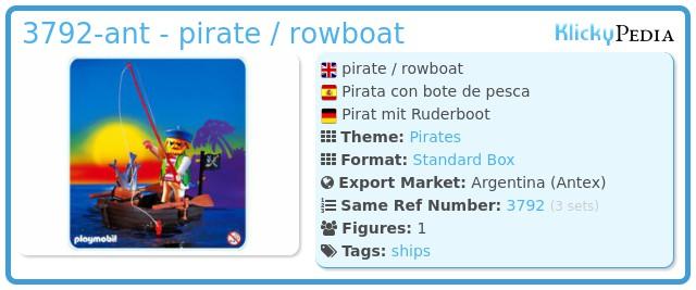 Playmobil 3792-ant - pirate / rowboat