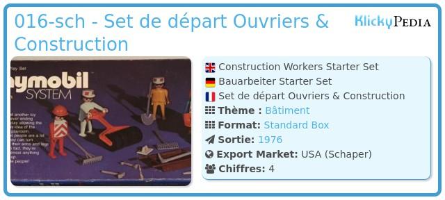 Playmobil 016-sch - Set de départ Ouvriers & Construction