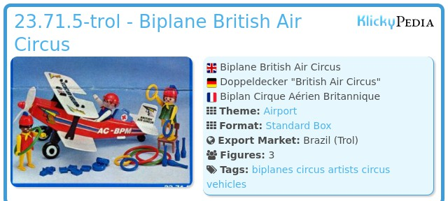 Playmobil 23.71.5-trol - Biplane British Air Circus